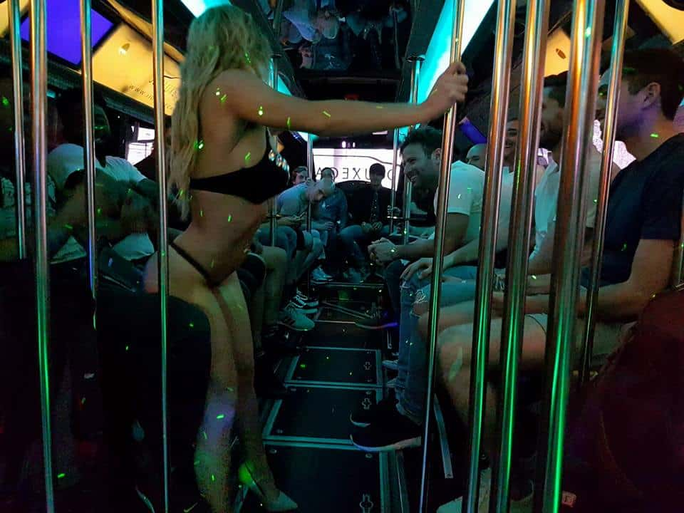 benidorm stag party bus with stripper